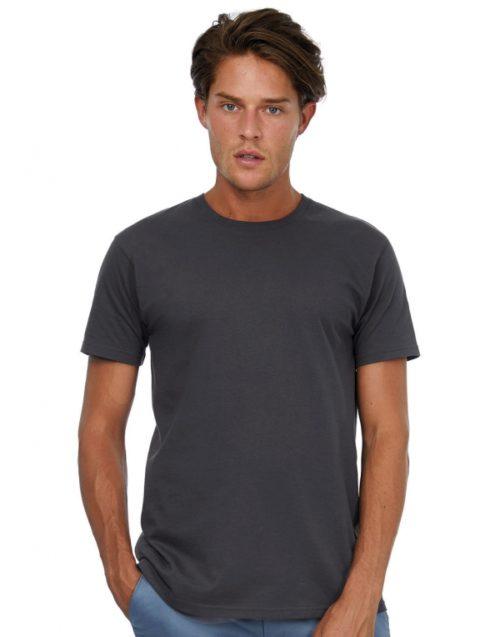Tmavě šedé pánské tričko s krátkým rukávem B&C