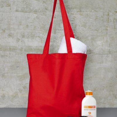 Červená bavlněná taška s dlouhými uchy