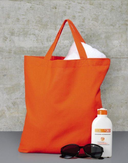 Oranžová bavlněná taška s krátkými uchy