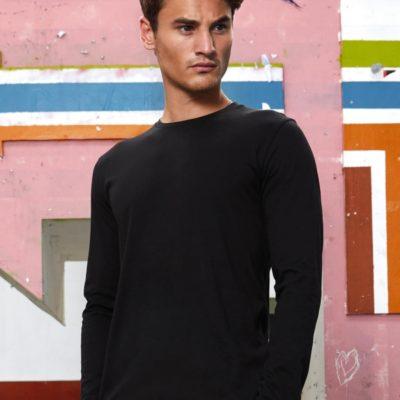 černé pánské tričko s dlouhým rukávem B&C Inspire