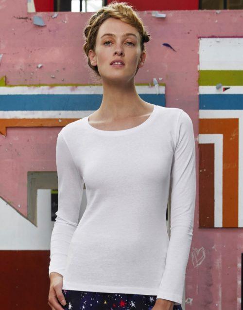 Dámské bílé tričko s dlouhým rukávem B&C Inspire