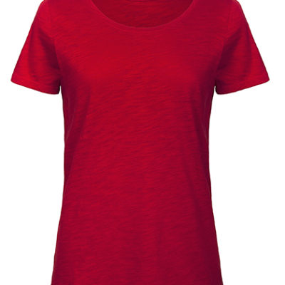 Dámské červené tričko B&C Inspire Slub