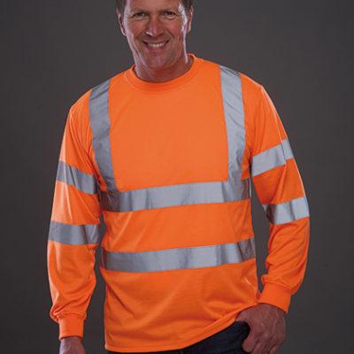Reflexní oranžové tričko s dlouhým rukávem Hi Vis