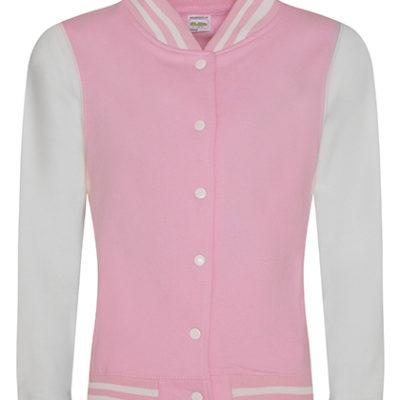 Dámská bílorůžová mikina Girlie Varsity Jacket
