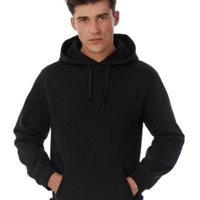 Pánská černá mikina B&C s kapucí Cotton Rich