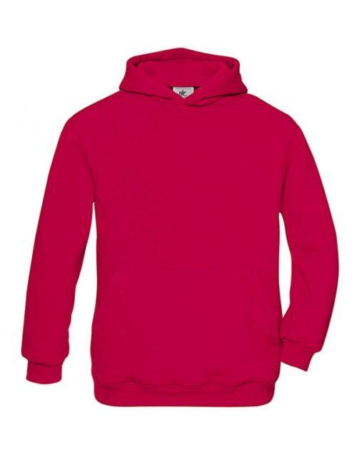 Dětská červená mikina B&C s kapucí Hooded