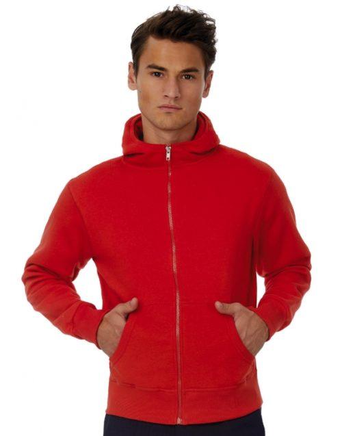 Pánská červená mikina B&C s kapucí a zipem Monster