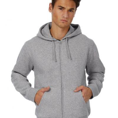 Pánská šedá mikina na zip B&C Hooded