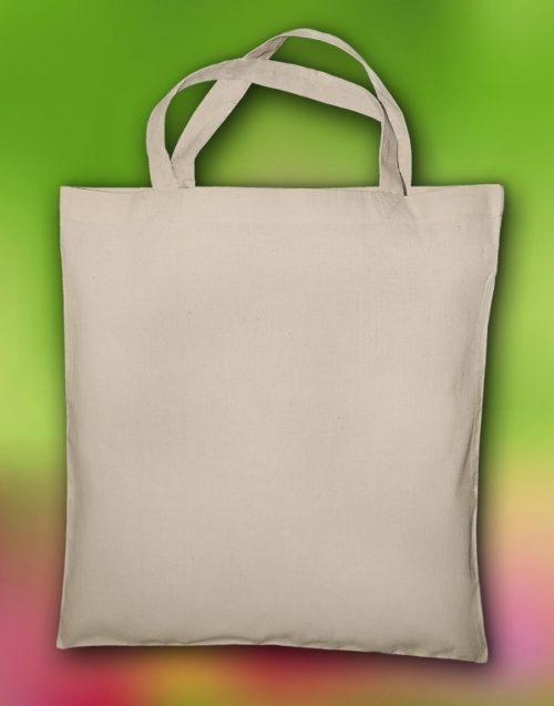 Organická bavlněná nákupní taška s krátkými uchy