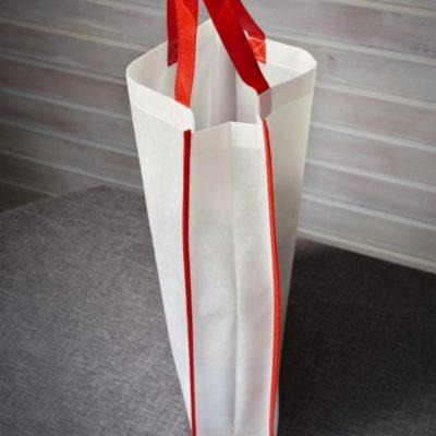 Bíločervená plážová taška z netkané textilie