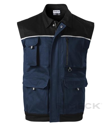 Pracovní tmavě modrá pánská vesta na zip s kapsami