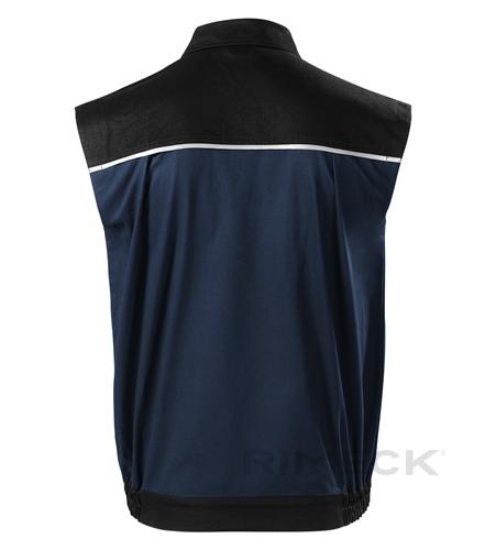 Pracovní tmavě modrá pánská vesta na zip